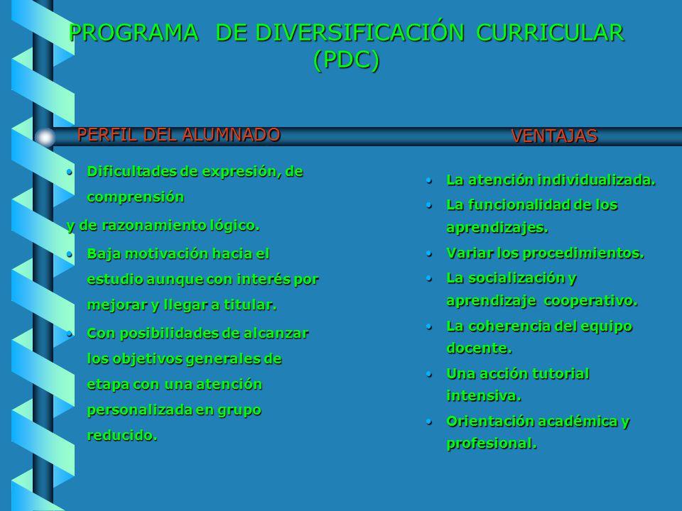 PROGRAMA DE DIVERSIFICACIÓN CURRICULAR (PDC) PROCESO DE SELECCIÓN Primer acercamiento: Sesiones de la segunda evaluación.Primer acercamiento: Sesiones de la segunda evaluación.