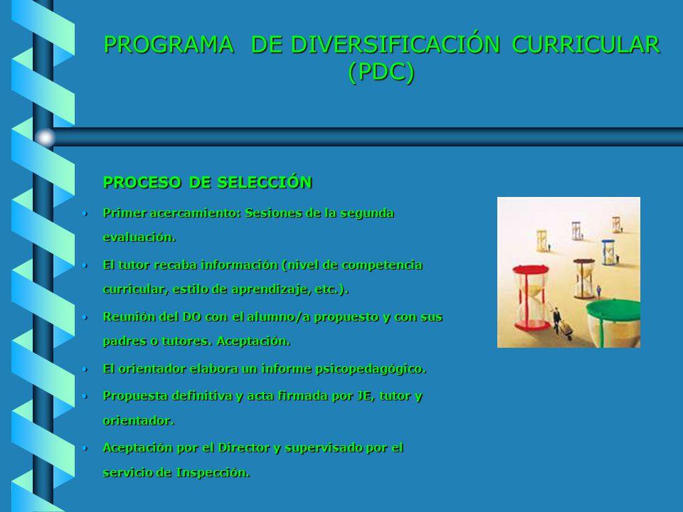 PROGRAMA DE DIVERSIFICACIÓN CURRICULAR (PDC) PROCESO DE SELECCIÓN Primer acercamiento: Sesiones de la segunda evaluación.Primer acercamiento: Sesiones
