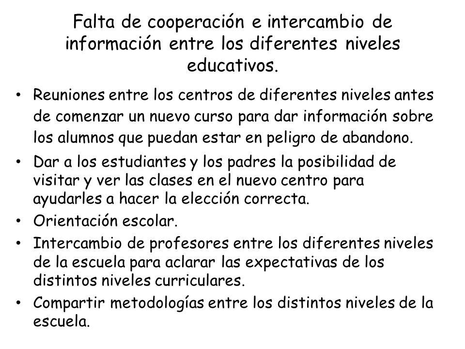 Falta de cooperación e intercambio de información entre los diferentes niveles educativos. Reuniones entre los centros de diferentes niveles antes de