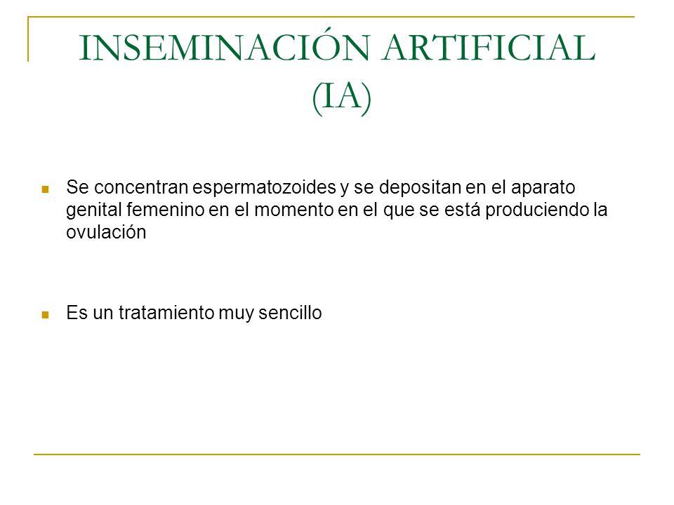 INSEMINACIÓN ARTIFICIAL (IA) Se concentran espermatozoides y se depositan en el aparato genital femenino en el momento en el que se está produciendo l