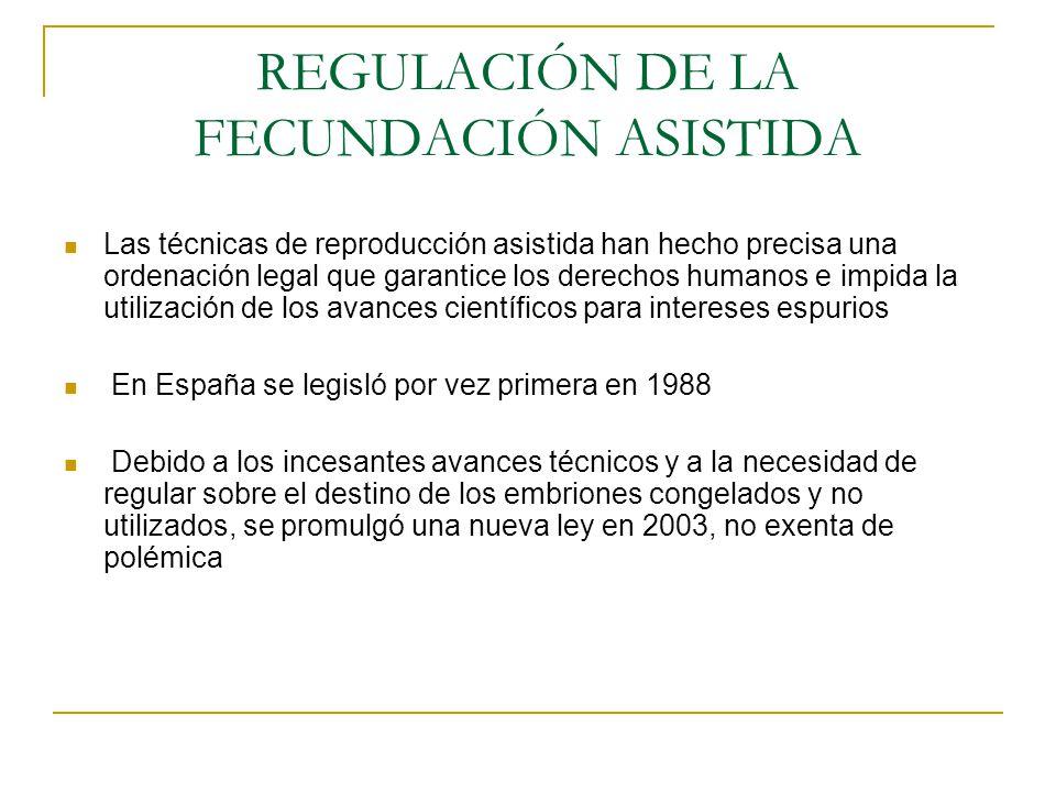 REGULACIÓN DE LA FECUNDACIÓN ASISTIDA Las técnicas de reproducción asistida han hecho precisa una ordenación legal que garantice los derechos humanos