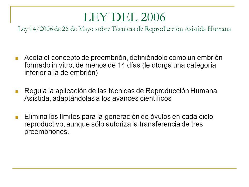 LEY DEL 2006 Ley 14/2006 de 26 de Mayo sobre Técnicas de Reproducción Asistida Humana Acota el concepto de preembrión, definiéndolo como un embrión fo