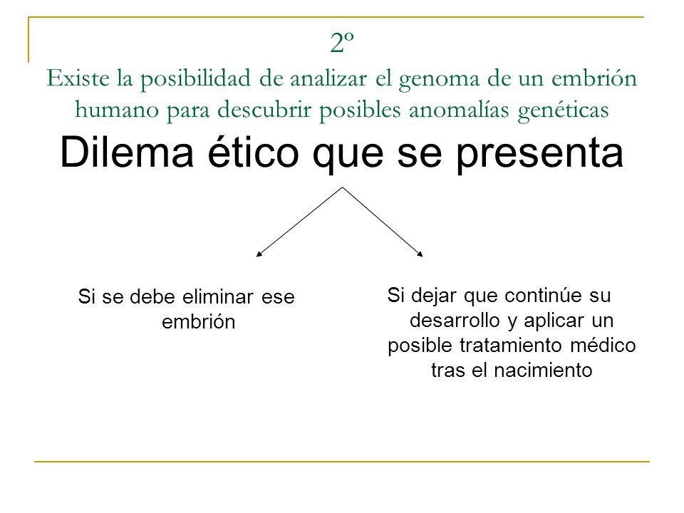 2º Existe la posibilidad de analizar el genoma de un embrión humano para descubrir posibles anomalías genéticas Dilema ético que se presenta Si se deb