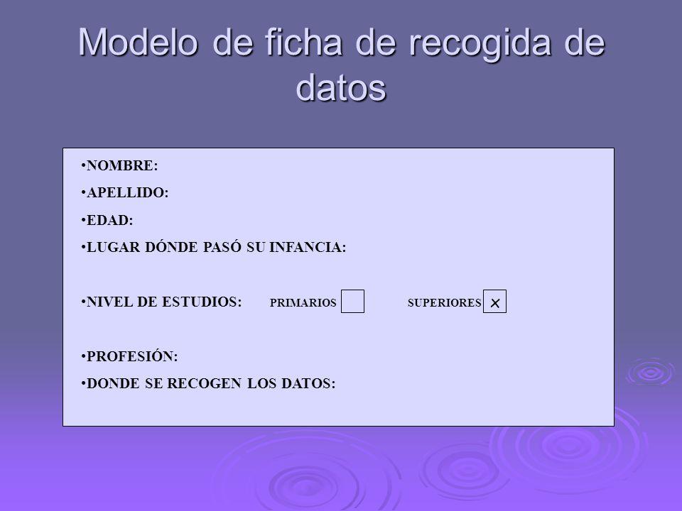 Modelo de ficha de recogida de datos NOMBRE: APELLIDO: EDAD: LUGAR DÓNDE PASÓ SU INFANCIA: NIVEL DE ESTUDIOS: PRIMARIOS SUPERIORES PROFESIÓN: DONDE SE RECOGEN LOS DATOS: x