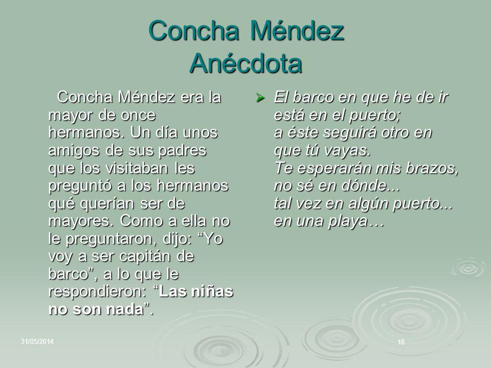 Concha Méndez Anécdota Concha Méndez era la mayor de once hermanos. Un día unos amigos de sus padres que los visitaban les preguntó a los hermanos qué