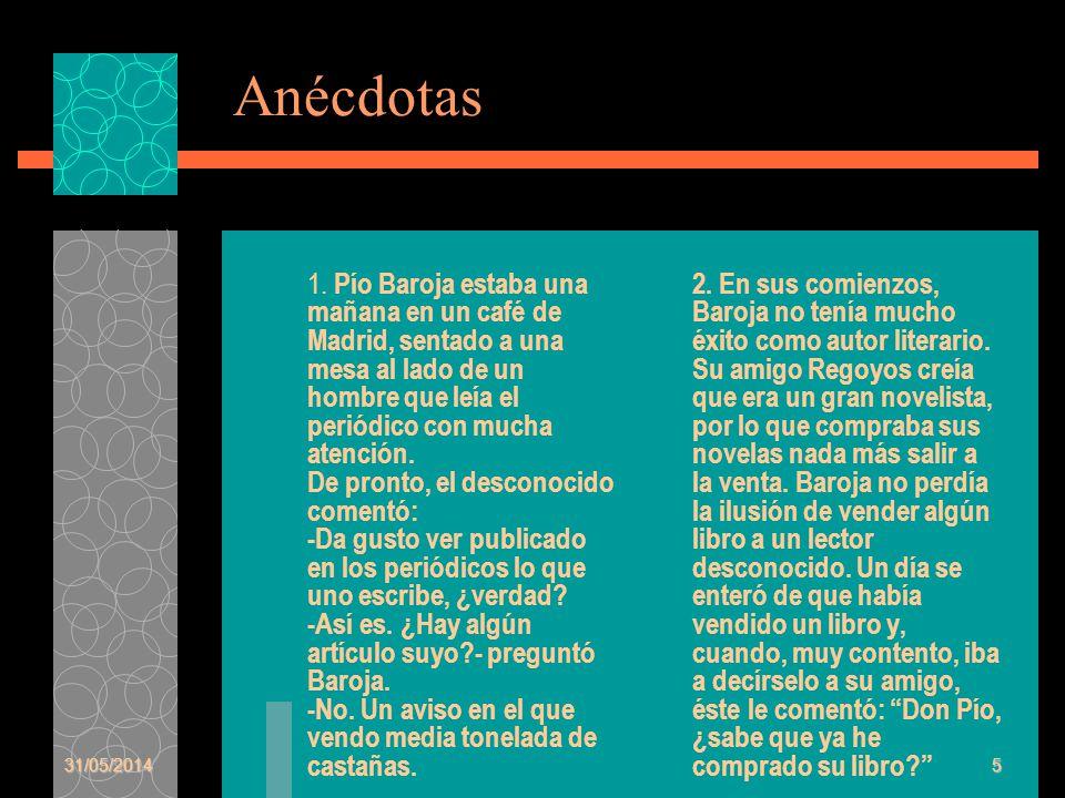 Anécdotas 1. Pío Baroja estaba una mañana en un café de Madrid, sentado a una mesa al lado de un hombre que leía el periódico con mucha atención. De p