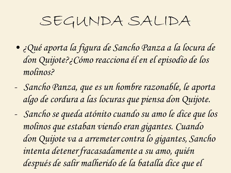 SEGUNDA SALIDA ¿Qué aporta la figura de Sancho Panza a la locura de don Quijote?¿Cómo reacciona él en el episodio de los molinos? - Sancho Panza, que