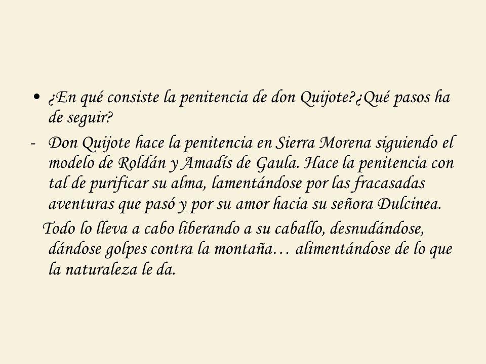 ¿En qué consiste la penitencia de don Quijote?¿Qué pasos ha de seguir? -Don Quijote hace la penitencia en Sierra Morena siguiendo el modelo de Roldán