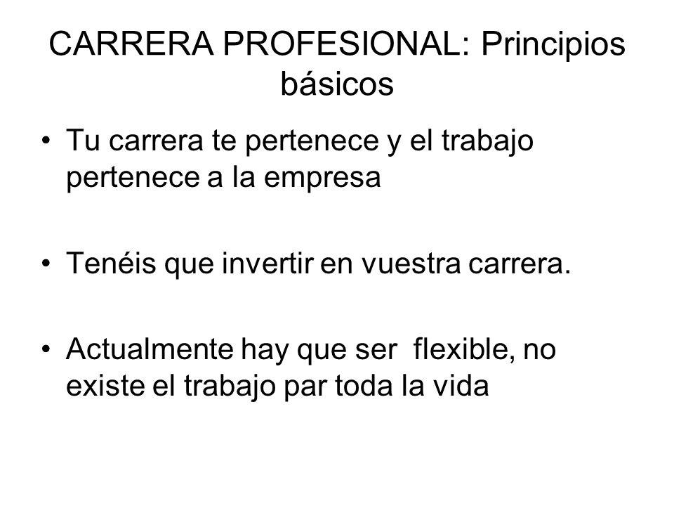 CARRERA PROFESIONAL: Principios básicos Tu carrera te pertenece y el trabajo pertenece a la empresa Tenéis que invertir en vuestra carrera. Actualment