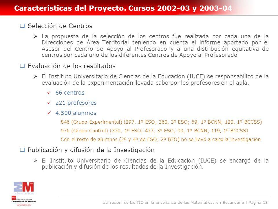 Utilización de las TIC en la enseñanza de las Matemáticas en Secundaria | Página 13 Características del Proyecto.