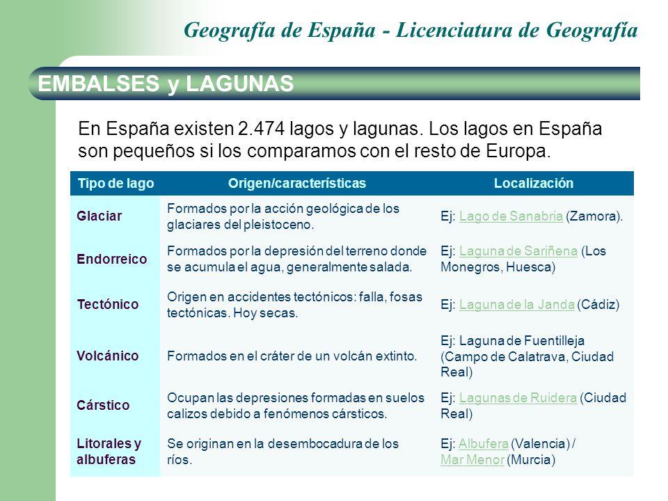 Geografía de España - Licenciatura de Geografía EMBALSES y LAGUNAS En España existen 2.474 lagos y lagunas. Los lagos en España son pequeños si los co