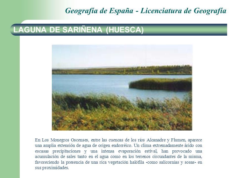Geografía de España - Licenciatura de Geografía LAGUNA DE SARIÑENA (HUESCA) En Los Monegros Oscenses, entre las cuencas de los ríos Alcanadre y Flumen