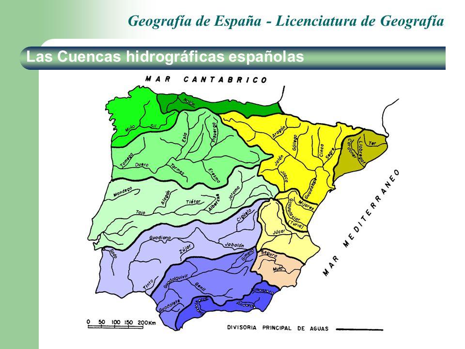 Geografía de España - Licenciatura de Geografía Las Cuencas hidrográficas españolas