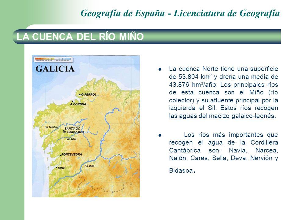 Geografía de España - Licenciatura de Geografía LA CUENCA DEL RÍO DUERO La cuenca de Duero es la más grande de la península, cubre 78.972 km 2 en España y drena una media de 12.170 hm 3 /año.