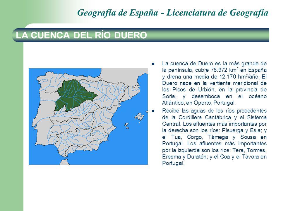 Geografía de España - Licenciatura de Geografía LA CUENCA DEL RÍO DUERO La cuenca de Duero es la más grande de la península, cubre 78.972 km 2 en Espa