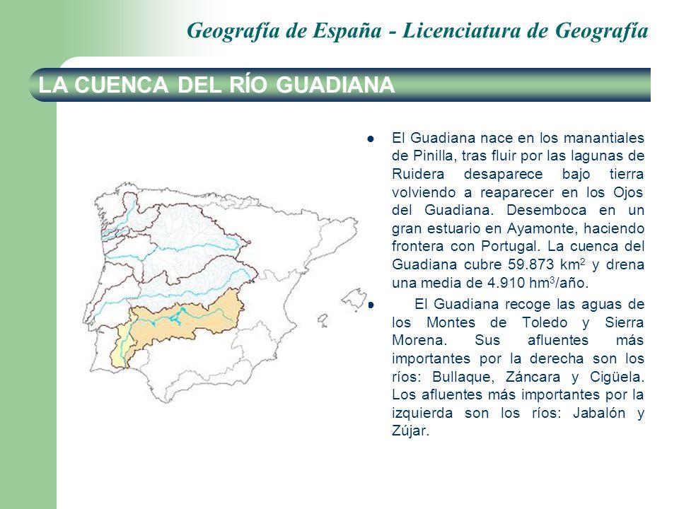 Geografía de España - Licenciatura de Geografía LA CUENCA DEL RÍO GUADIANA El Guadiana nace en los manantiales de Pinilla, tras fluir por las lagunas