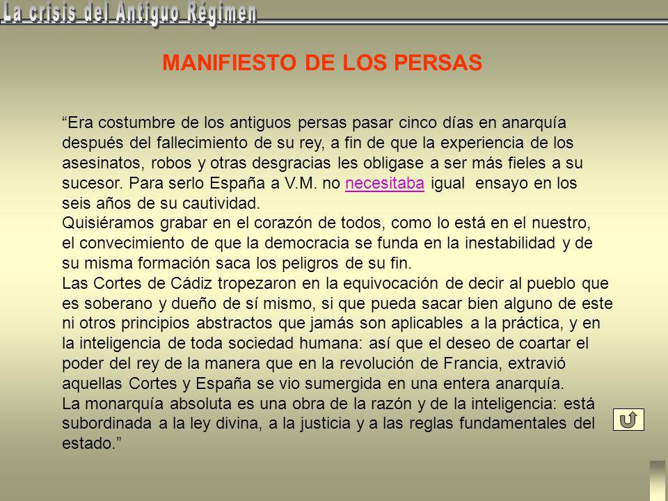 5.- El Reinado de Fernando VII (1814 - 1833) El Manifiesto de los persaspersas Petición a Fernando VII (Retorno al Antiguo Régimen) Levantamientos mil