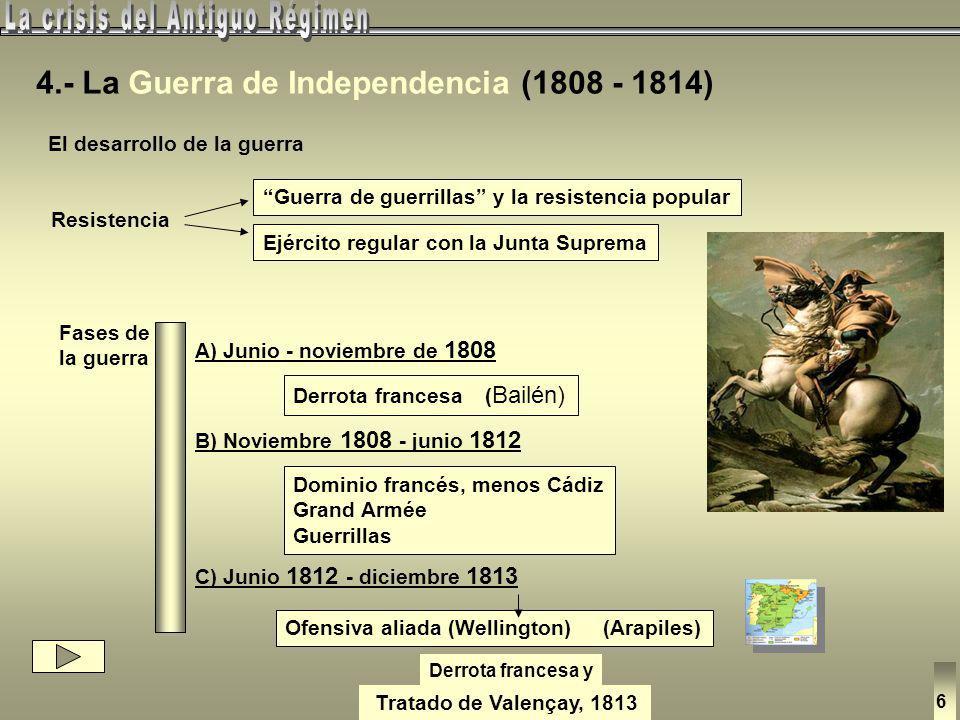 José I (1808-13) y la Constitución o Carta de 1808 Política reformista Los afrancesados Españoles que juraron fidelidad a José I - Alta instrucción - A favor de la R.F.