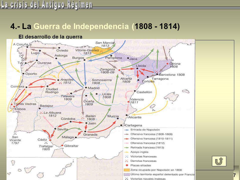 4.- La Guerra de Independencia (1808 - 1814) El desarrollo de la guerra Guerra de guerrillas y la resistencia popular Ejército regular con la Junta Su
