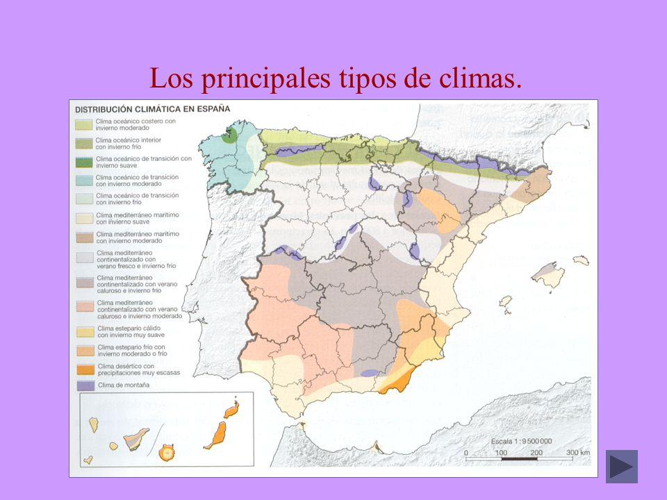 Los principales tipos de climas.