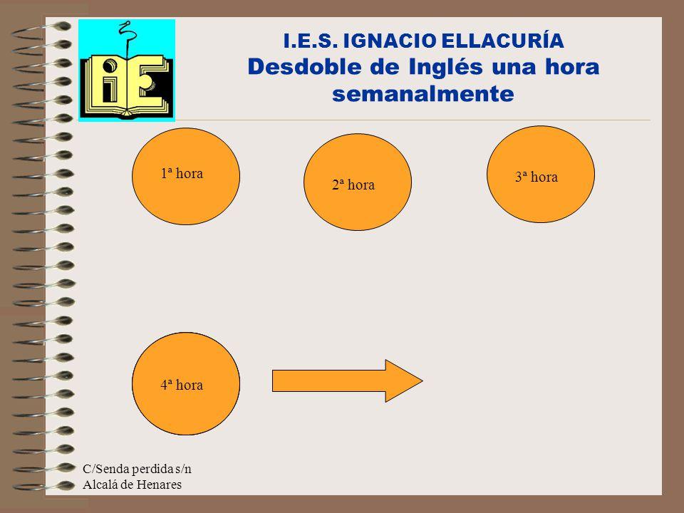 C/Senda perdida s/n Alcalá de Henares ½ grupo con su profesor I.E.S. IGNACIO ELLACURÍA Desdoble de Inglés una hora semanalmente 1ª hora 2ª hora ½ grup