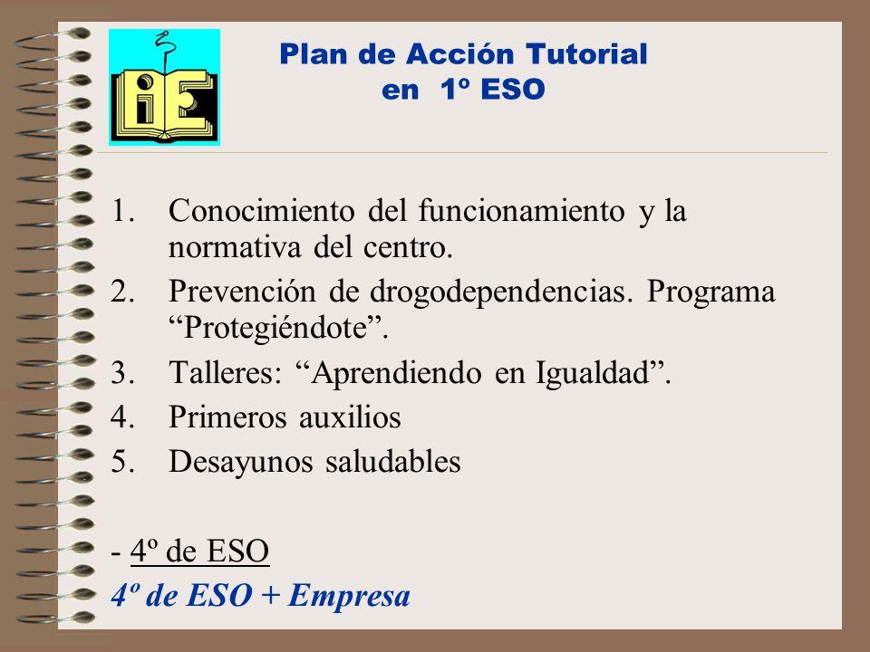 Plan de Acción Tutorial en 1º ESO 1.Conocimiento del funcionamiento y la normativa del centro.