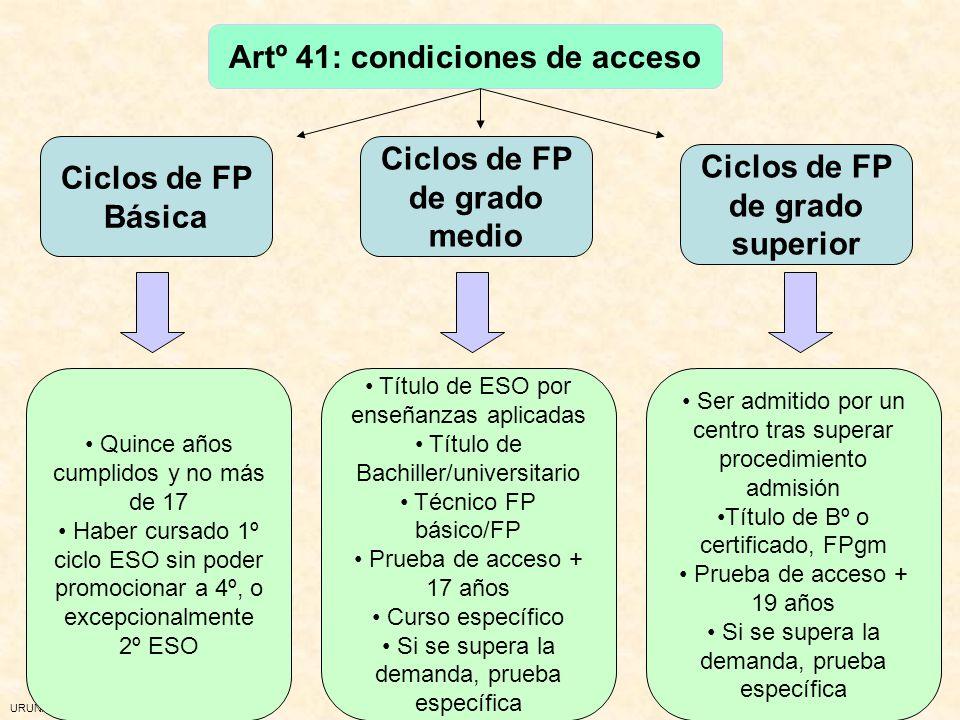 URUNAJP Artº 41: condiciones de acceso Ciclos de FP Básica Ciclos de FP de grado medio Ciclos de FP de grado superior Quince años cumplidos y no más d
