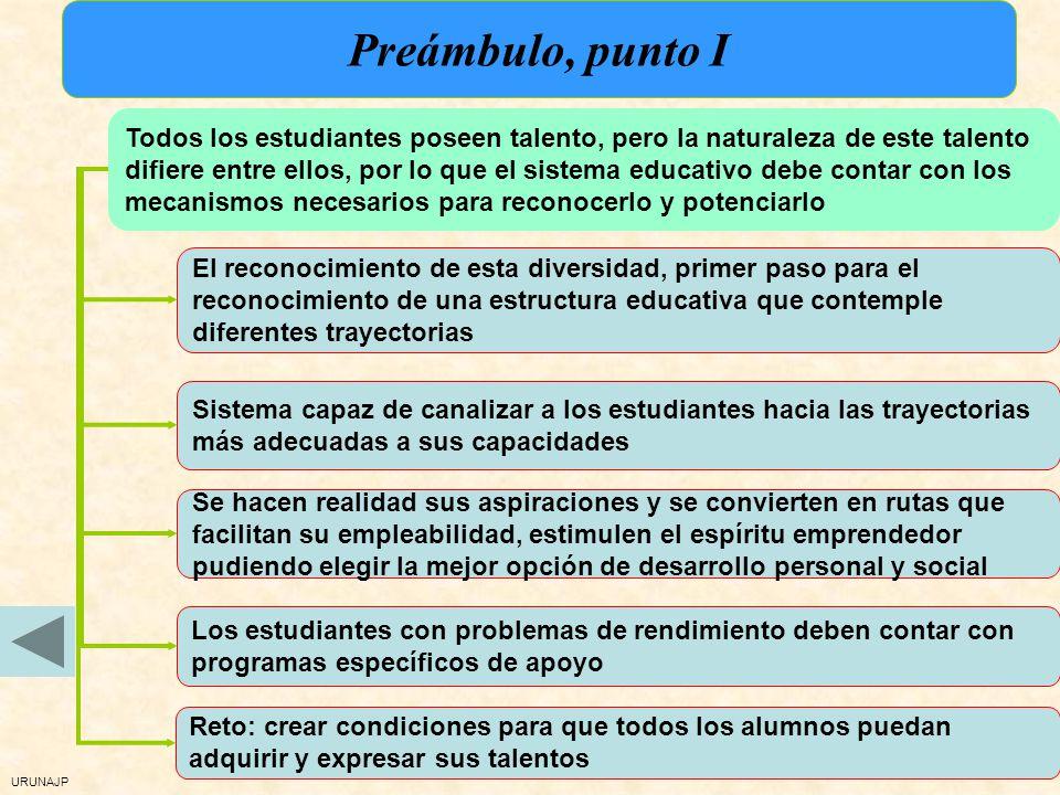 URUNAJP Todos los estudiantes poseen talento, pero la naturaleza de este talento difiere entre ellos, por lo que el sistema educativo debe contar con