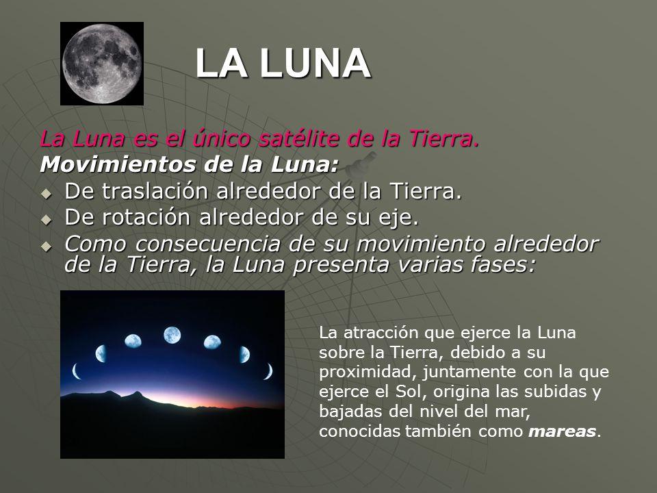 LA LUNA La Luna es el único satélite de la Tierra. Movimientos de la Luna: De traslación alrededor de la Tierra. De traslación alrededor de la Tierra.