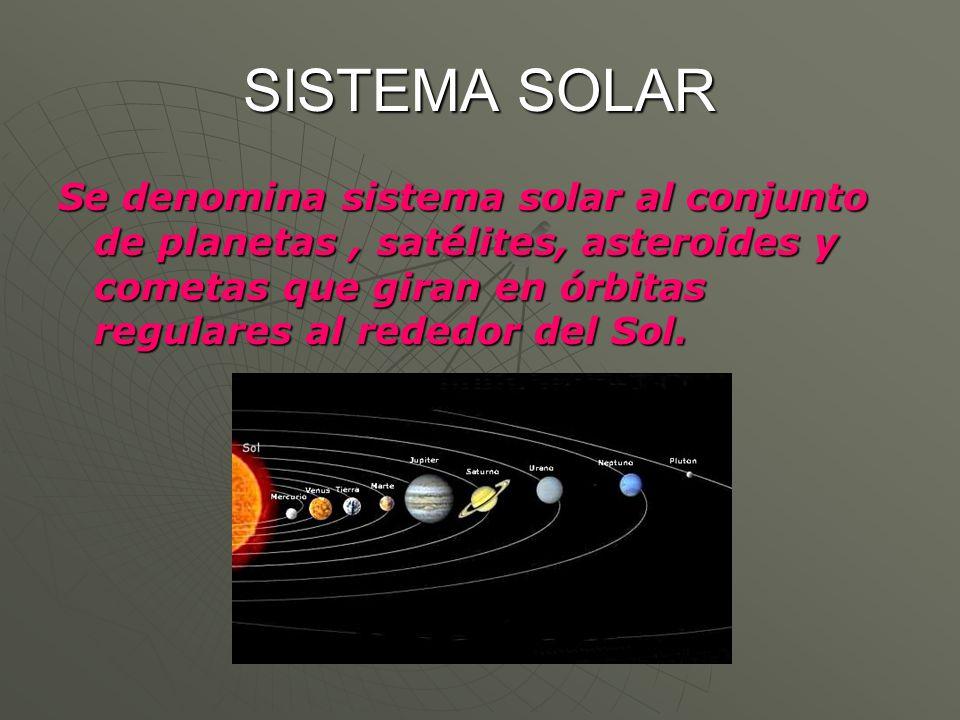 SISTEMA SOLAR Se denomina sistema solar al conjunto de planetas, satélites, asteroides y cometas que giran en órbitas regulares al rededor del Sol.