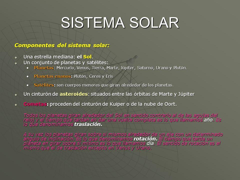 SISTEMA SOLAR Componentes del sistema solar: Una estrella mediana: el Sol. Una estrella mediana: el Sol. Un conjunto de planetas y satélites: Un conju