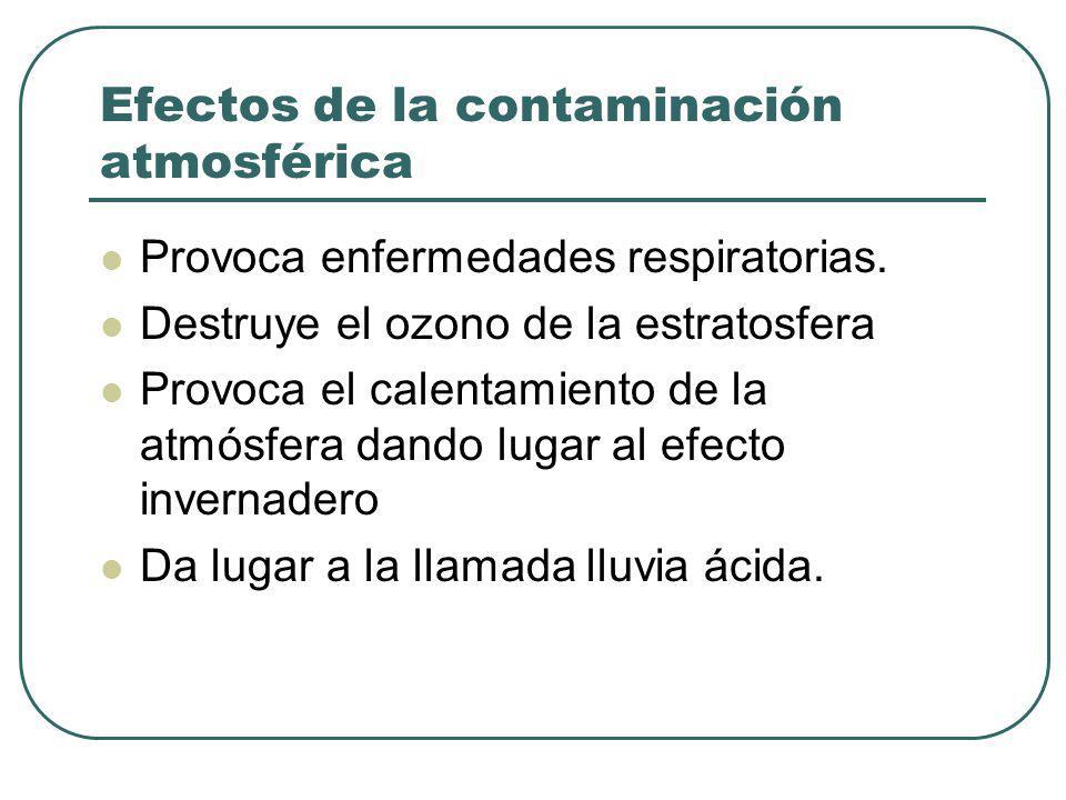 Efectos de la contaminación atmosférica Provoca enfermedades respiratorias. Destruye el ozono de la estratosfera Provoca el calentamiento de la atmósf