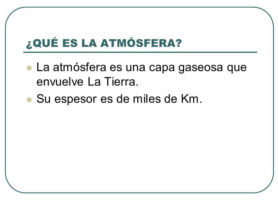 ¿QUÉ ES LA ATMÓSFERA? La atmósfera es una capa gaseosa que envuelve La Tierra. Su espesor es de miles de Km.
