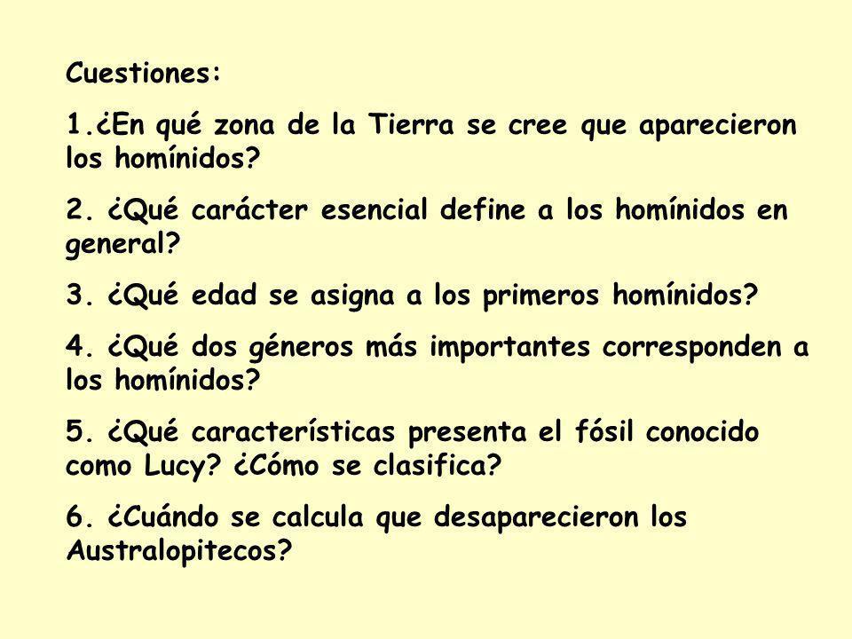Cuestiones: 1.¿En qué zona de la Tierra se cree que aparecieron los homínidos.
