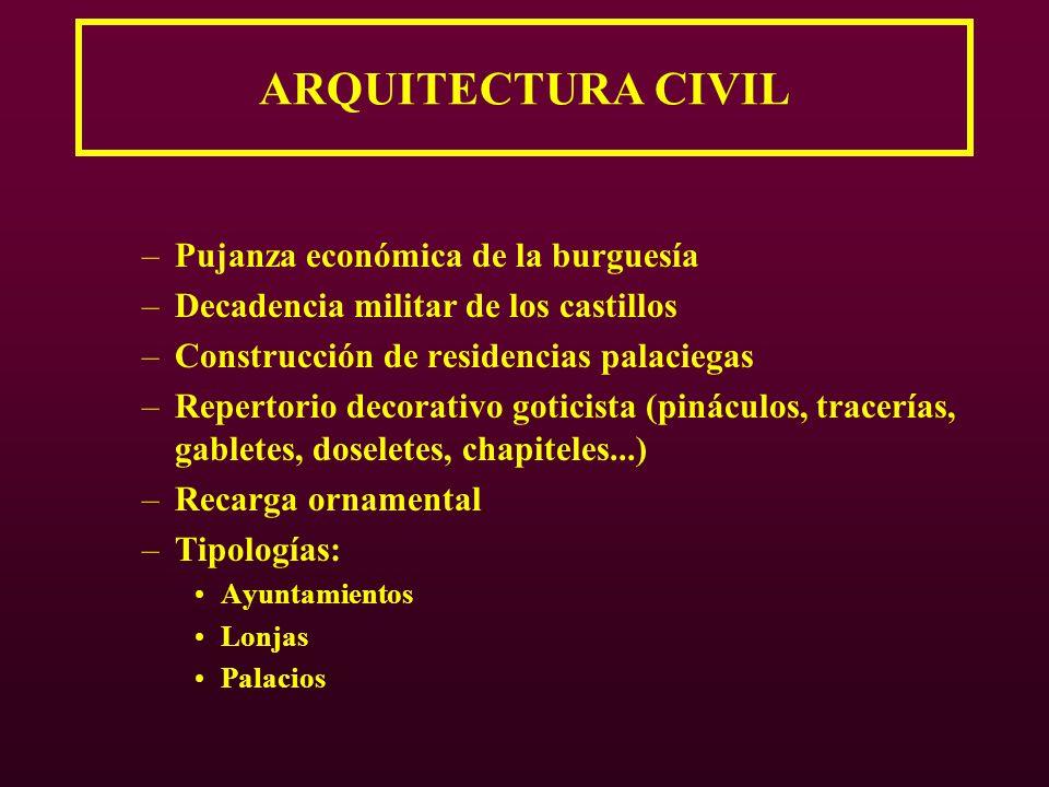 ARQUITECTURA CIVIL –Pujanza económica de la burguesía –Decadencia militar de los castillos –Construcción de residencias palaciegas –Repertorio decorat