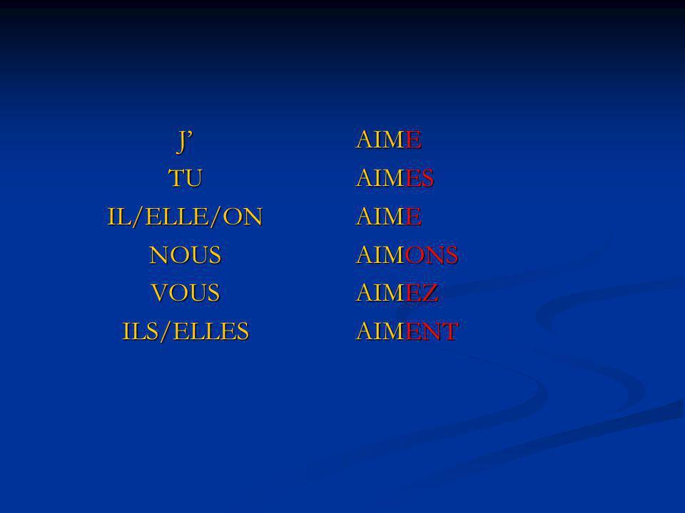 JTUIL/ELLE/ONNOUSVOUSILS/ELLES AIME AIMES AIME AIMONS AIMEZ AIMENT