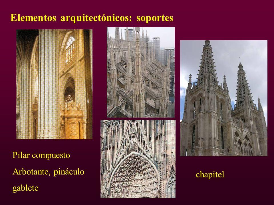 Elementos arquitectónicos: soportes Pilar compuesto Arbotante, pináculo gablete chapitel