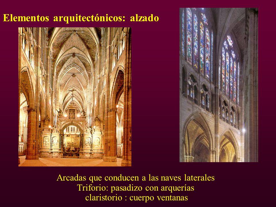 Elementos arquitectónicos: alzado Arcadas que conducen a las naves laterales Triforio: pasadizo con arquerías claristorio : cuerpo ventanas