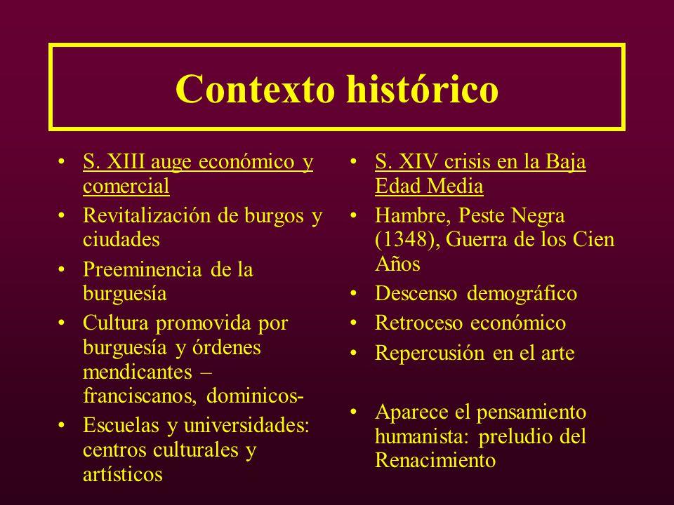 Contexto histórico S. XIII auge económico y comercial Revitalización de burgos y ciudades Preeminencia de la burguesía Cultura promovida por burguesía