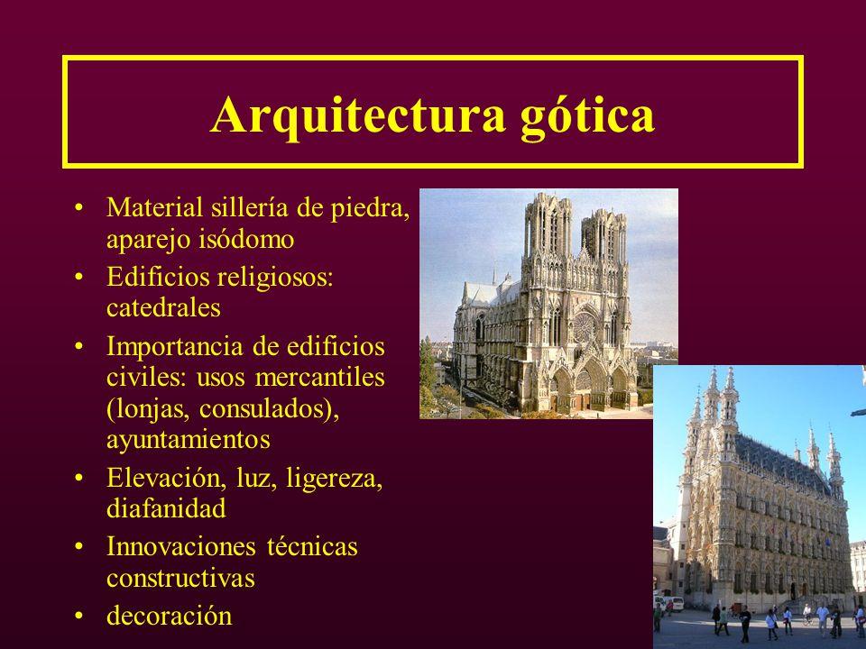 Arquitectura gótica Material sillería de piedra, aparejo isódomo Edificios religiosos: catedrales Importancia de edificios civiles: usos mercantiles (