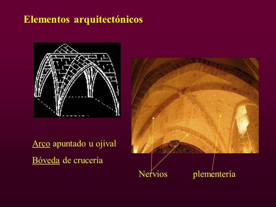 Elementos arquitectónicos Arco apuntado u ojival Bóveda de crucería Nervios plementería