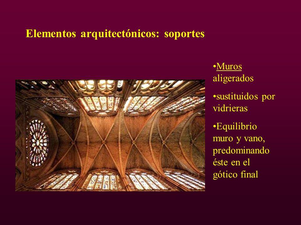 Elementos arquitectónicos: soportes Muros aligerados sustituidos por vidrieras Equilibrio muro y vano, predominando éste en el gótico final