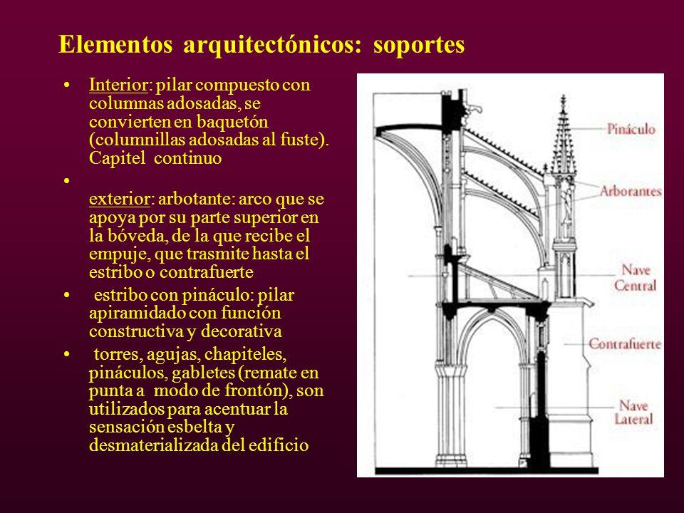 Elementos arquitectónicos: soportes Interior: pilar compuesto con columnas adosadas, se convierten en baquetón (columnillas adosadas al fuste). Capite