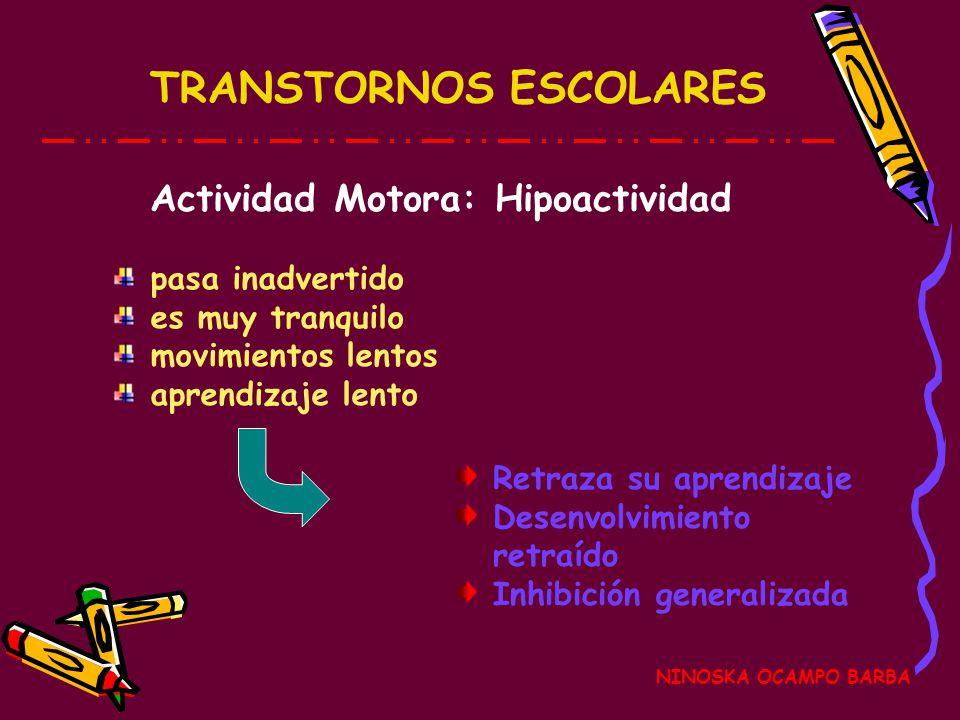 TRANSTORNOS ESCOLARES NINOSKA OCAMPO BARBA Actividad Motora: Coordinación Visomotora Dificultades manuales Inperseverancia verbal Perseverancia impres