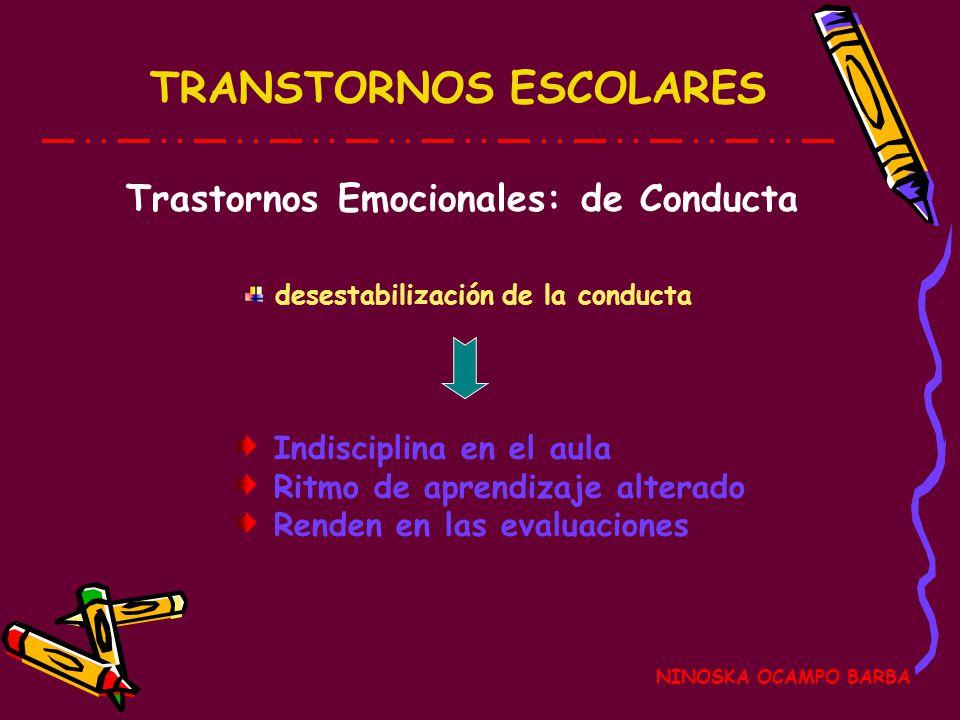 NINOSKA OCAMPO BARBA TRASTORNOS ESCOLARES NINOSKA OCAMPO BARBA Emocionales Trastorno de Conducta Trastorno de Adaptación Comprometen el desarrollo de