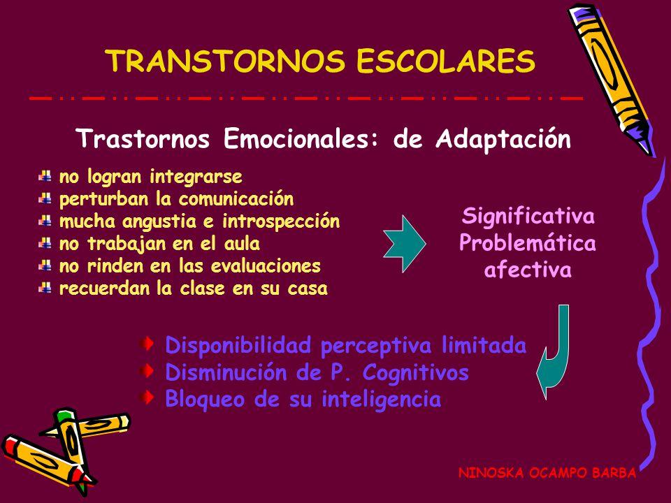 TRANSTORNOS ESCOLARES NINOSKA OCAMPO BARBA Trastornos Emocionales: de Conducta Indisciplina en el aula Ritmo de aprendizaje alterado Renden en las eva