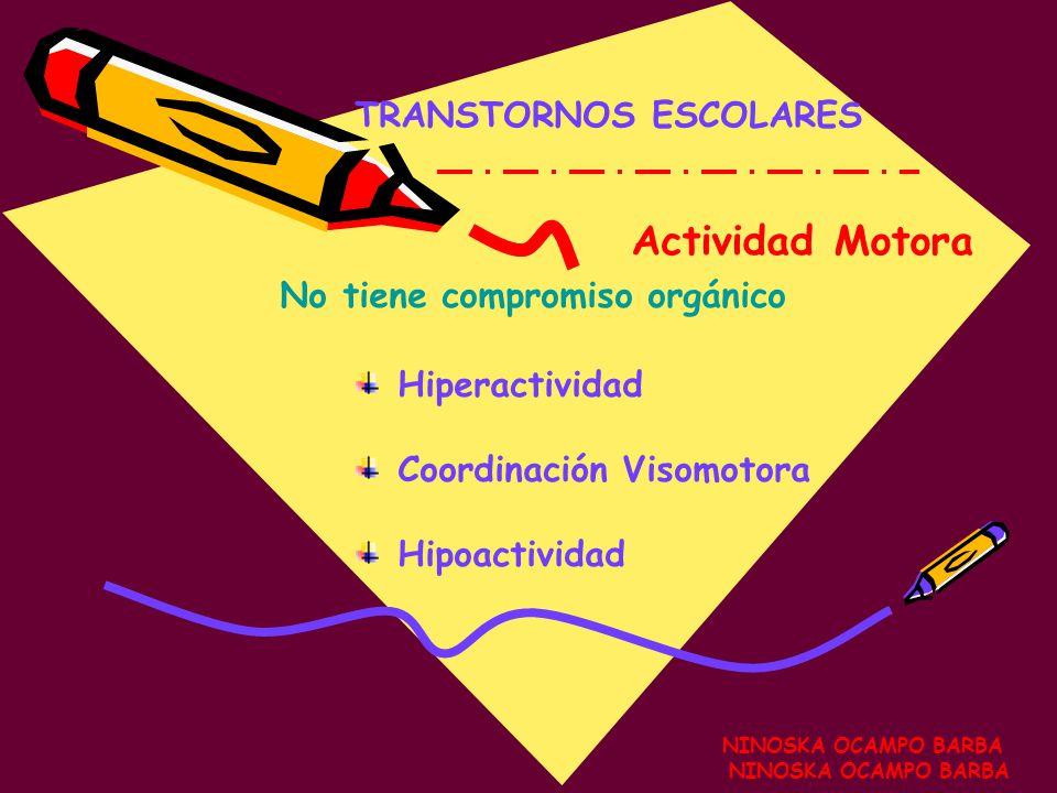 Clasificación NINOSKA OCAMPO BARBA TRANSTORNOS ESCOLARES T. Actividad Motora T. Emocionales T. Funciones Intelectuales T. Sociales T. Madurativos