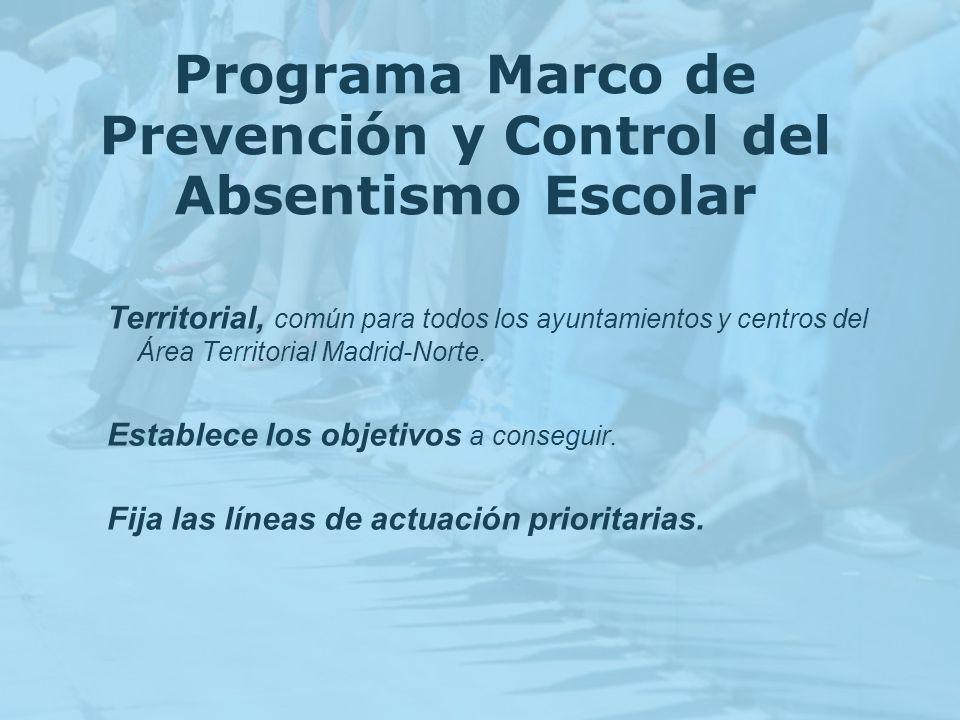 Programa Marco de Prevención y Control del Absentismo Escolar Territorial, común para todos los ayuntamientos y centros del Área Territorial Madrid-No
