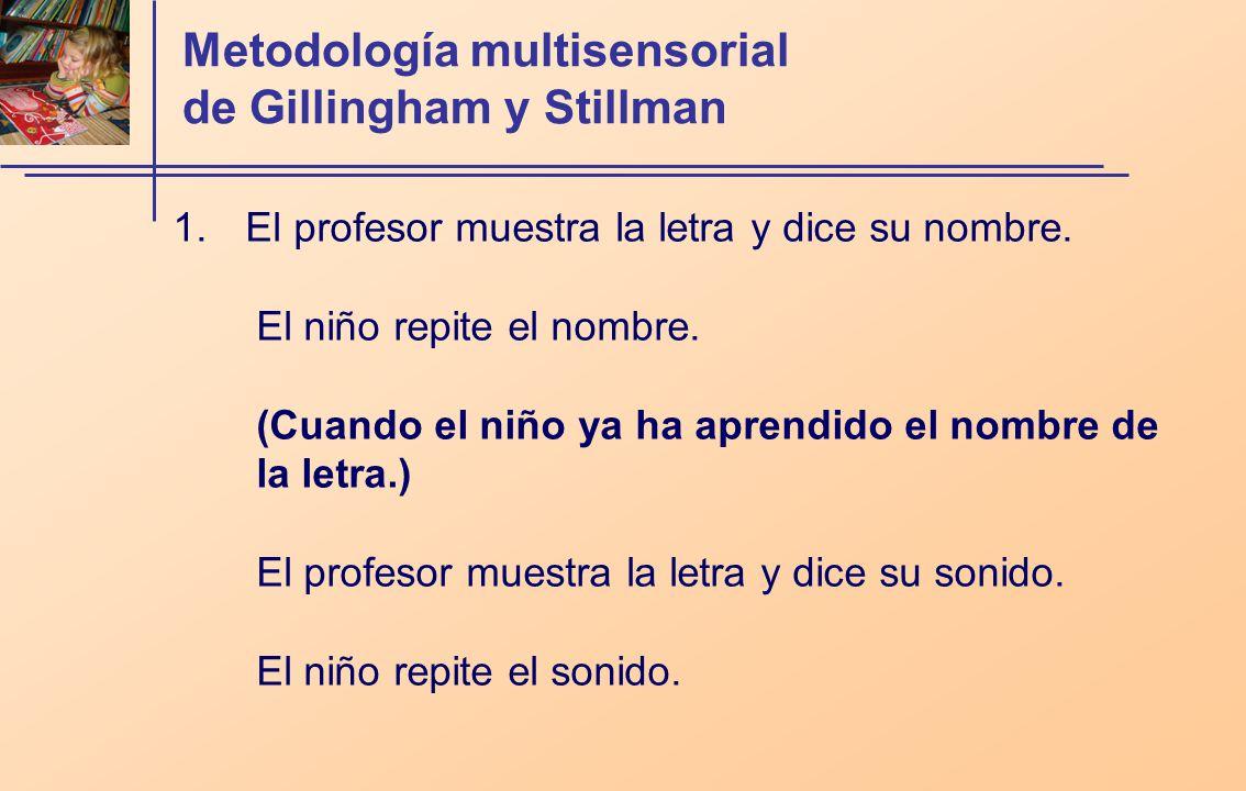Metodología multisensorial de Gillingham y Stillman 1. El profesor muestra la letra y dice su nombre. El niño repite el nombre. (Cuando el niño ya ha
