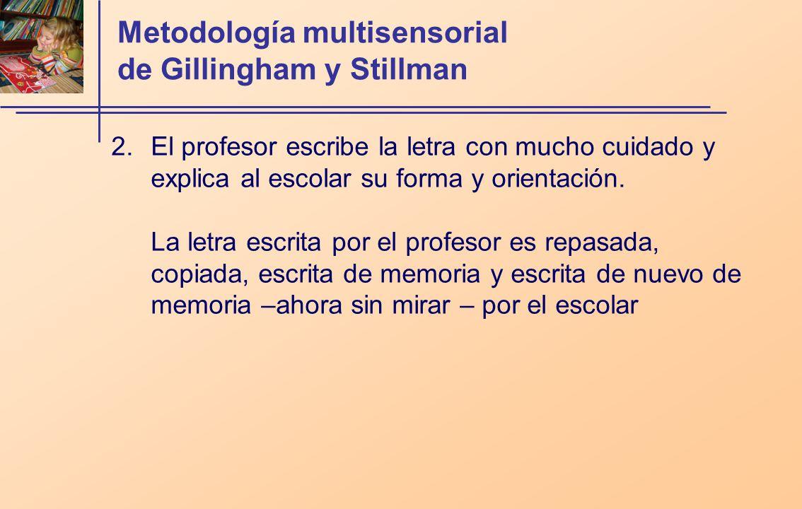 Metodología multisensorial de Gillingham y Stillman 2.El profesor escribe la letra con mucho cuidado y explica al escolar su forma y orientación.